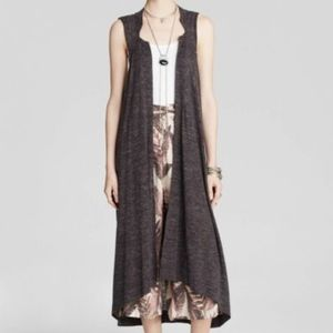 Free People Grey Vest Duster S Small